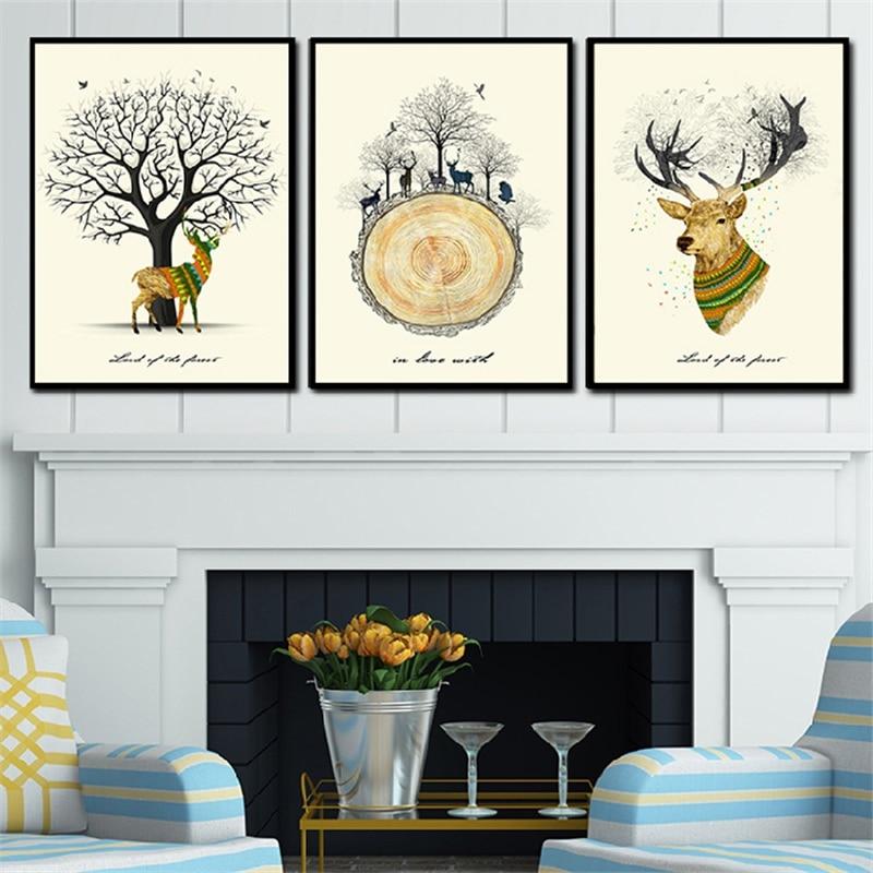Warme Nordic Baum Und Elch Winter Tiere Leinwand Malerei Home Wohnzimmer  Schlafzimmer Hintergrund Ringe Deer