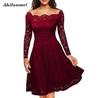 Spring Elegant Floral Lace Dress For Women Party Vintage 50s Retro Scallop Robe Femme Rockabilly Swing