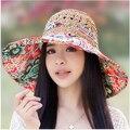 Verano mujer sol protección sombreros del sol sombreros de playa para mujeres plegable del sombrero del sol marca wide sol del borde sombreros para mujeres con grandes cabezas