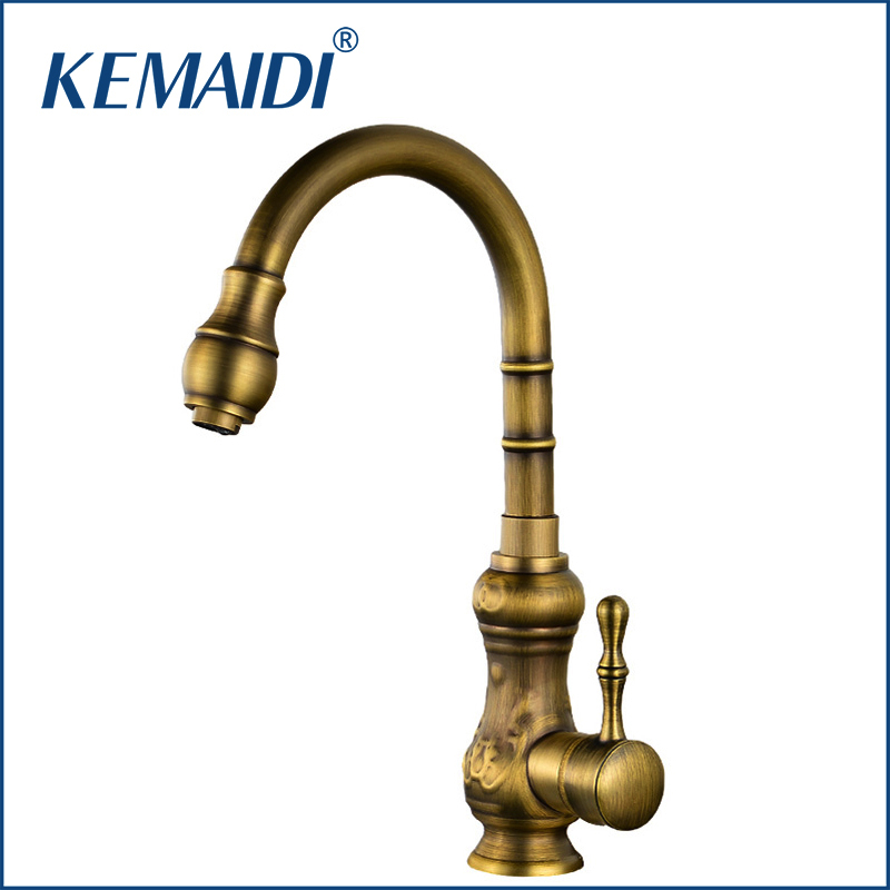 KEMAIDI Kitchen Faucet Antique Brass Bathroom Basin Faucet Swivel Spout Vanity Sink Mixer Tap Single Handle tormeira cocina antique brass dual cross handles swivel kitchen bathroom sink basin faucet mixer taps anf103