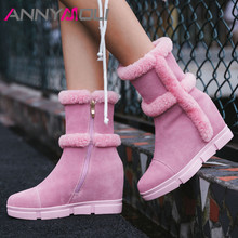 ANNYMOLI Real Fur Snow Boots Women Cow Suede Height Increasing Mid-calf Warm Wool Zipper Shoes Ladies Winter Size 40