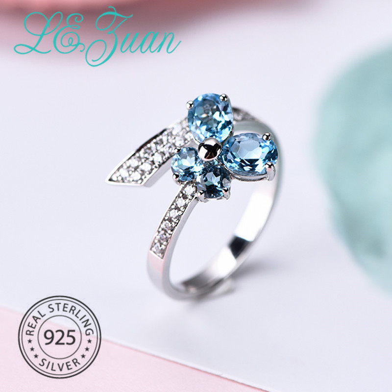 Jewelry & Accessories L&zuan Romantic Butterfly Blue Topaz Rings For Women Genuine S925 Silver Ring White Zirconia Paved Wedding Party Fine Jewelry