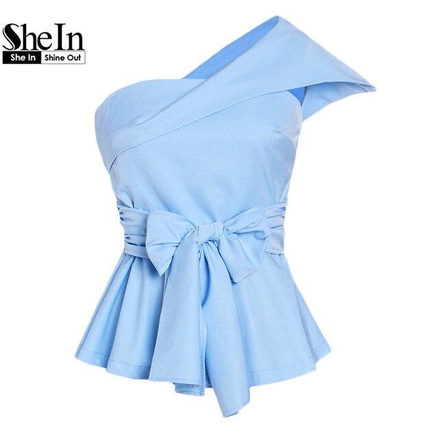 Шеин женские блузки 2017 женские летние сексуальные топы синий раза через одно плечо рукав-крылышко поясом с учетом топ с баской
