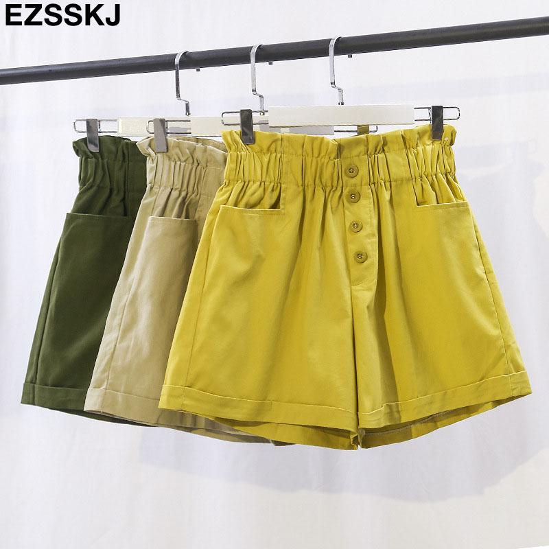 2019 Casual Chic Shorts Elastic High Waist Shorts Women Female Summer Students Loose Wide Leg Cotton Short With Button