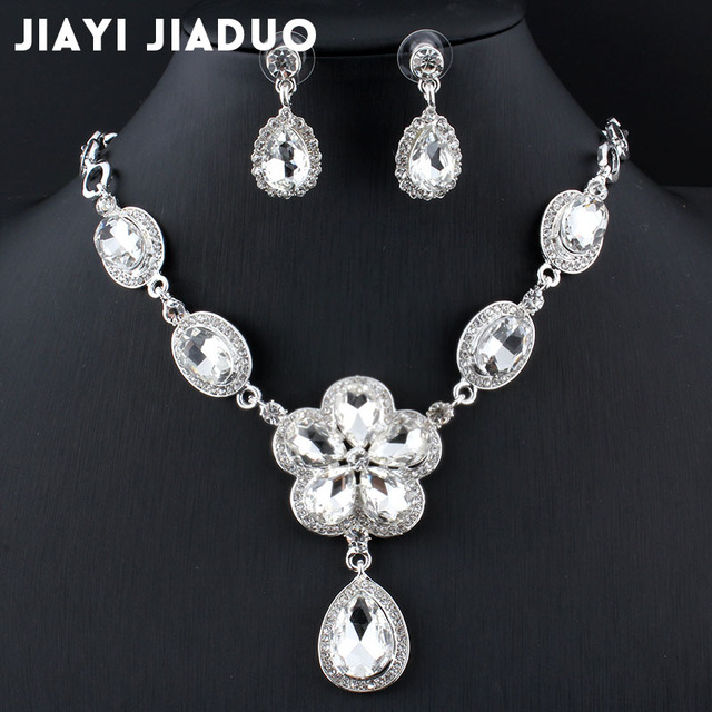jiayijiaduo New Arrival silver-color Leaf Crystal Necklace Earrings set for Women Wedding Jewelry Sets Bridal Jewelry Sets