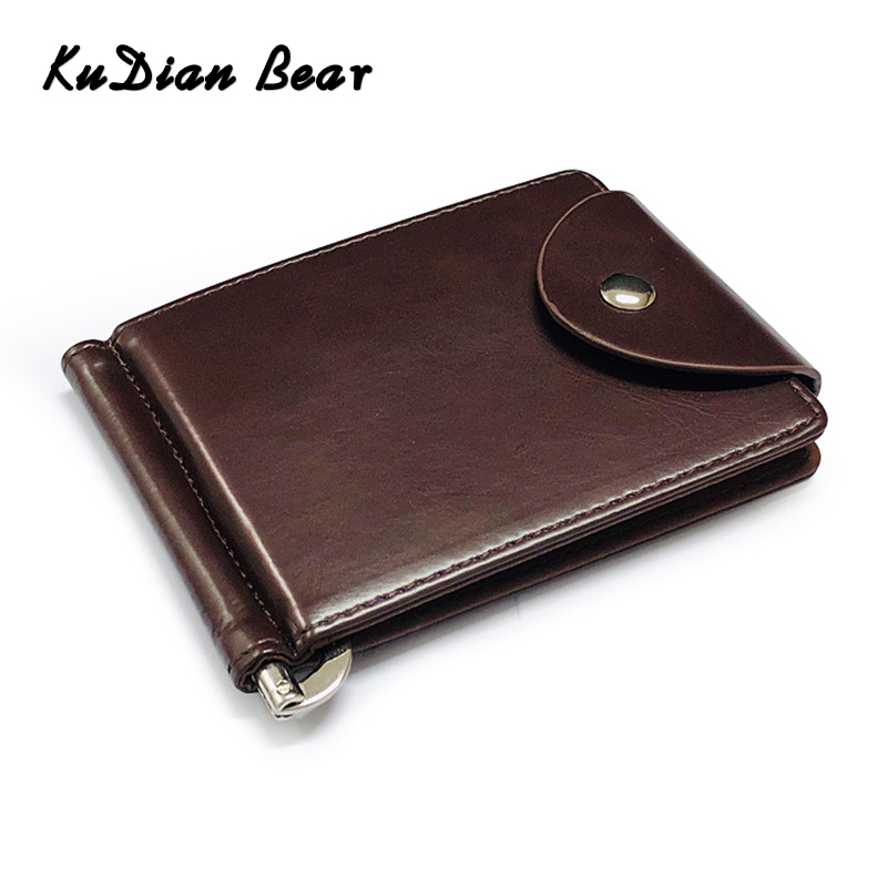 KUDIAN BEAR Rfid Men Wallet Short Money Clip Wallet Metal Leather Slim Male Card Organizer Minimalist Carteras Hombre BID249PM49