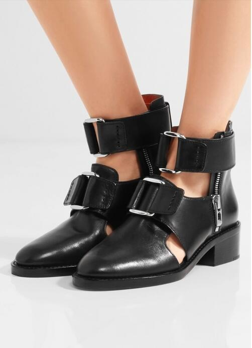 Concise Style Black Smooth Leather Women Pointed Toe Ankle Boots Cutout Style Thick Ankle Buckle Ladies Knight Boots Spring Boot