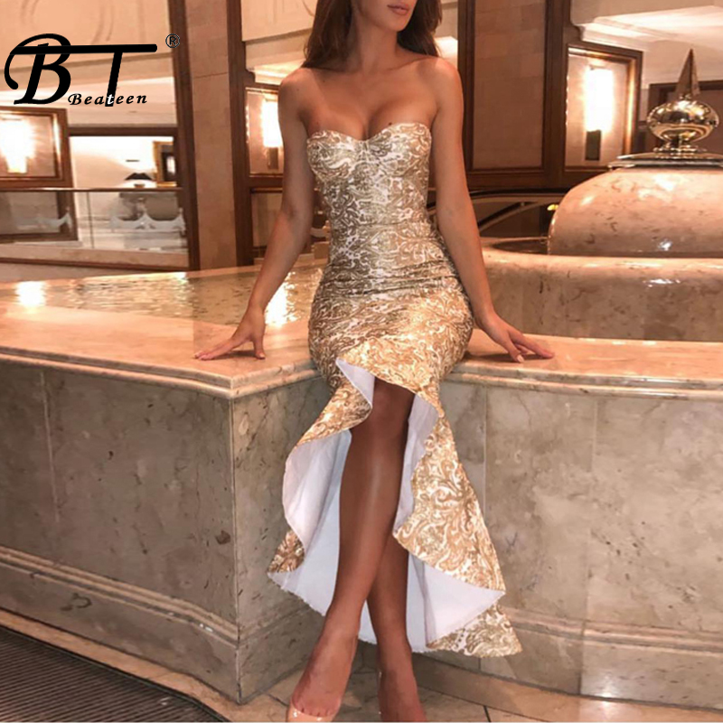 Beateen Sexy Luxury Gold Embroidery Backless Midi Women Bandage Dress Elegant Solid Mermaid Midi Women Party