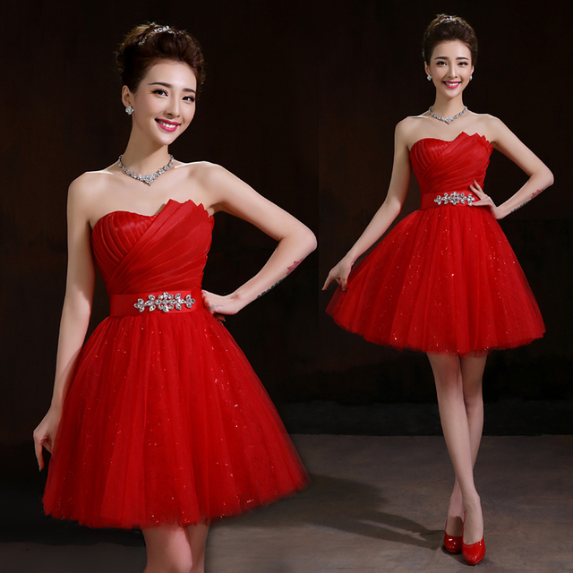 Red Teens Party Dress Featured Beading Folded Top Sequined Tulle Prom Short Dress Lace Up