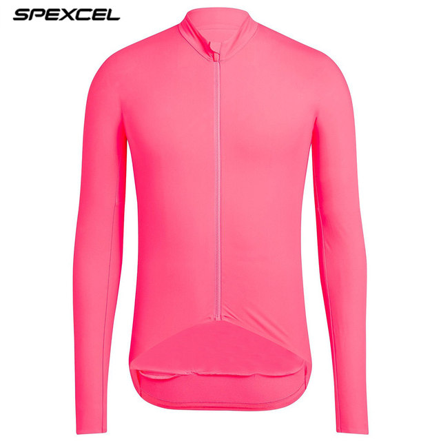 SPEXCEL New 2019 High vis Pink Pro aero thermal fleece cyclling jersey long sleeve winter Brushing Seamless cycling jacket bike