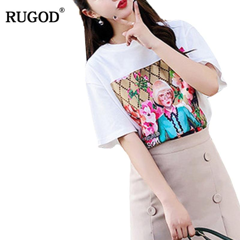 RUGOD décontracté femmes deux pièces ensemble 2018 nouveauté femme vêtements ensemble O cou t-shirt + jupe Vintage à la mode deux pièces ensemble
