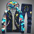 2017 New Arrival Winter Warm Sweatshirt Men Set Patchwork Casual Hoodies Tracksuit Mens Sweat Suits (Asian Size)