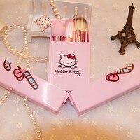 Güzel Hello Kitty Makyaj Fırçalar Set Pembe Kutusu 8 adet makyaj Ayna Kutusu Ile fırça Seti Makyaj Araçları Maquiagem Kızlar Hediyeler için