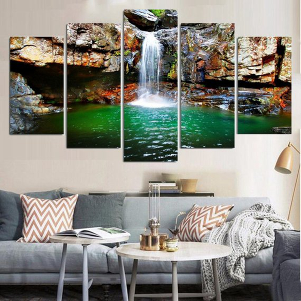 Waterfall In The Mountain Landscape Wall Art Canvas Painting For