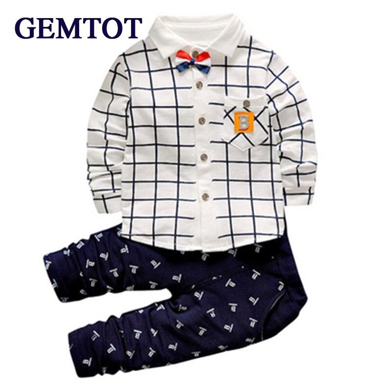 Gemtot Новинка 2017 года; модная детская одежда Комплект весенней одежды для маленьких мальчиков; рубашка + брюки Одежда для маленьких мальчиков детская одежда бренд