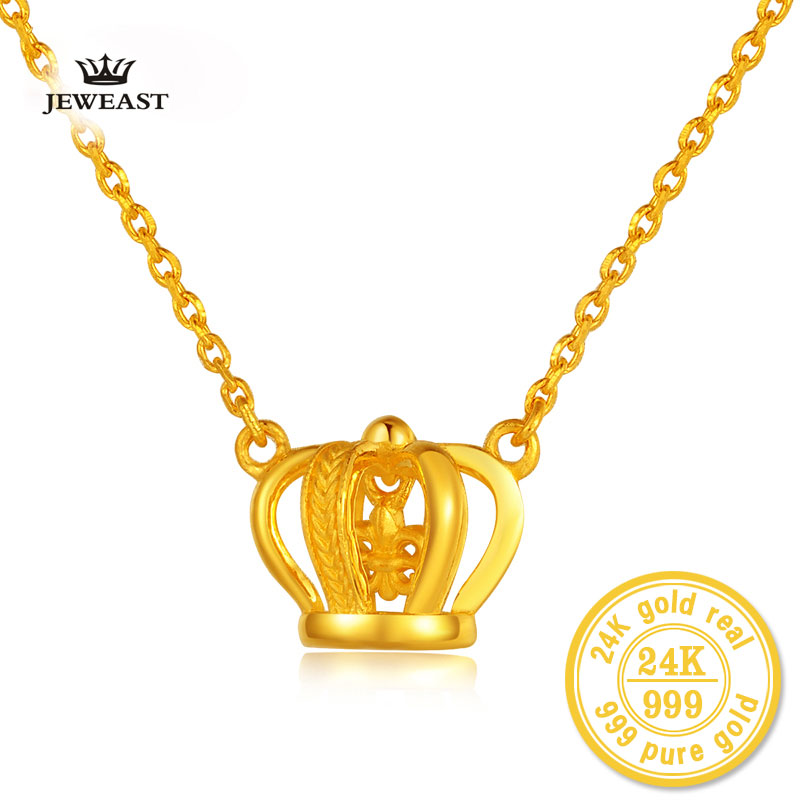 BBB 24K Pure Gold Necklace Pendant Female Princess Coronation Ornate Crown Set Queen Necklace Chain charm 999solid women
