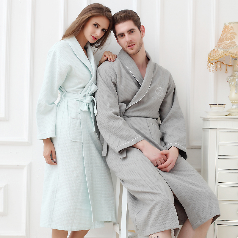 Bathrobes Women Robe Cotton Summer Thin Long Robe Female -8635