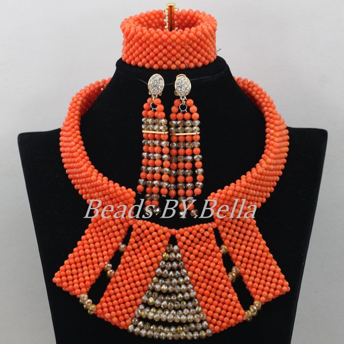 Latest New Design Orange Coral Beads Jewelry Sets African Costume ...