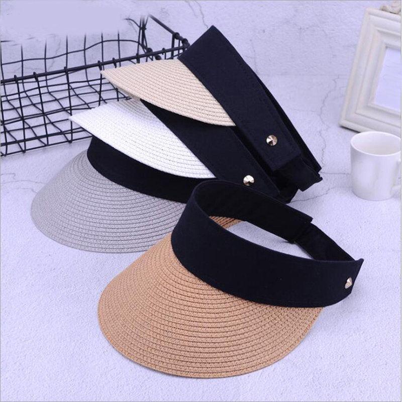 efdb75dde60075 New Fashion Summer Hats Women For Folding Sun Visor Empty Top Outdoor Sea Beach  Hat Female