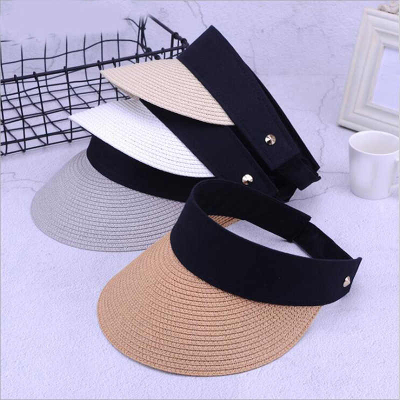 6f111e4a702 New Fashion Summer Hats Women For Folding Sun Visor Empty Top Outdoor Sea Beach  Hat Female