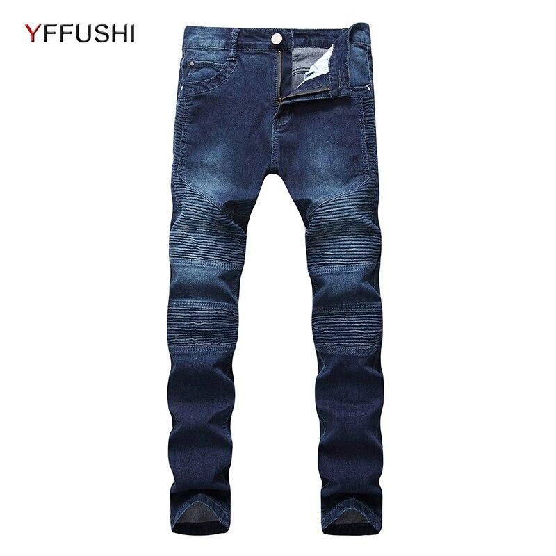 YFFUSHI 2018 Fashion Men Pleated Denim Jeans Stretch Straight Light Blue Mens Jeans Stylish Casual Pants Long Trousers