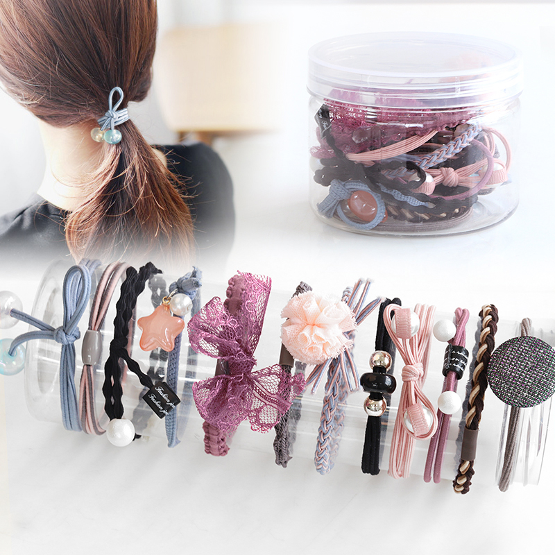 M MISM 1Pot=12PCS Girl Bead Elastic Rubber Hair Bands Braid Bowknot Star Pearl Lace Geometric Cute Ponytail Hair Gum Accessories