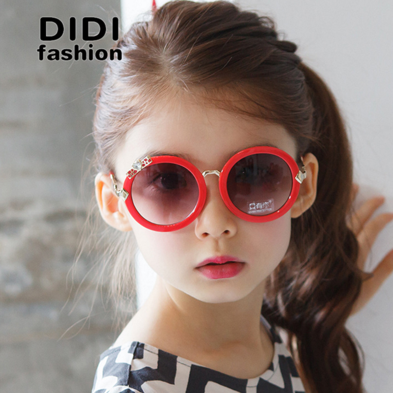 DIDI 2017 Kids Korean Heart Diamond Sunglasses Girls Bow Small Round Gradient Lens Goggles Hippie Uv Protection Lunette C669