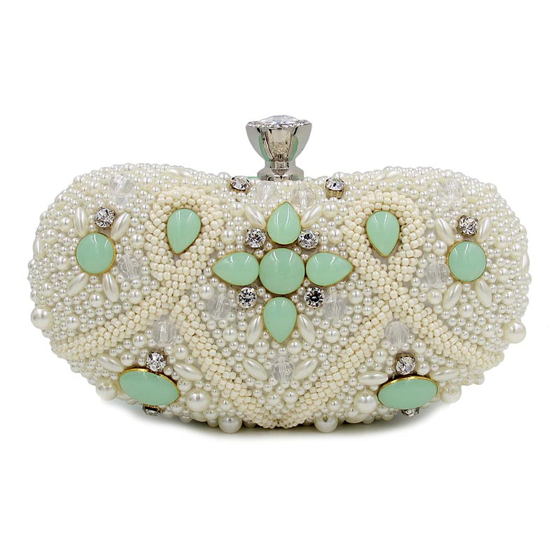 Women Party Handmade Pearl Clutch Bag Bridal Wedding Beaded Hand bags Metal Clutches Hard Case Crystal Crystal Evening Purse 2014 new arrival women hard top pocket mini 20cm interior slot sweet gentlewomen banquet bag shell pearl evening bridal clutch