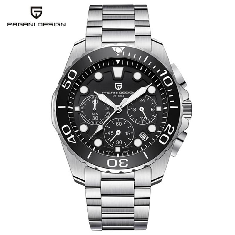 PAGANI ONTWERP 2018 Top Merk Luxe Quartz Horloge Mannen Roestvrij Staal Waterdichte Horloge Chronograph Sport Horloges erkek saat-in Quartz Horloges van Horloges op  Groep 2