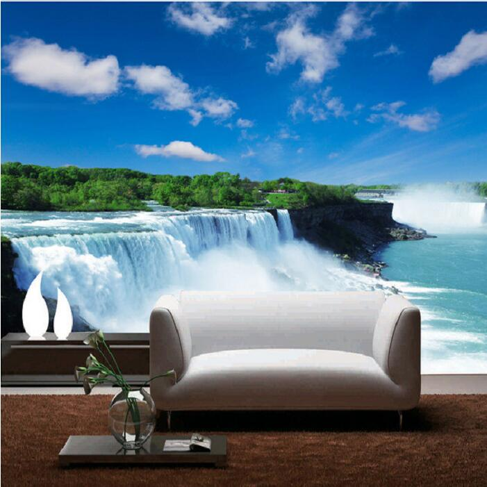 Popular waterfall wall murals buy cheap waterfall wall for Cheap 3d wallpaper