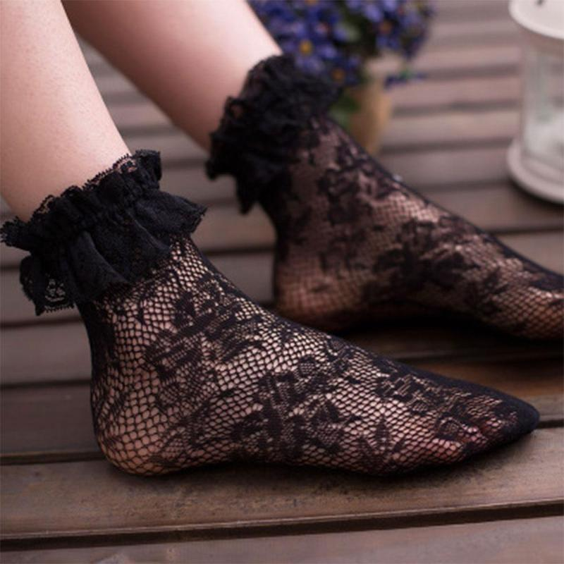 Women Girls Floral Lace Ruffle Lacework Frilly Embroidered Short Ankle Sock High