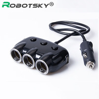 Robotsky 3 Way Car Charger Cigarette Lighter 3.1A Car-Charger Mobile Phone Universal For iPhone iPad Samsung Charging Adapter