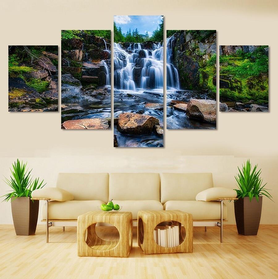 5pcs beautiful Waterfall scenery diy diamond painting cross stitch mosaic home decoration square drill full diamond
