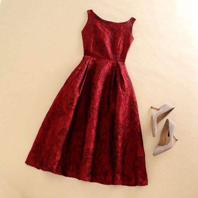 Женщины Элегантные Старинные Жаккард Красный Цветок Печати Жилет Без Рукавов Осень Зима Знаменитости Вдохновленный Платья Vestidos de Fiesta