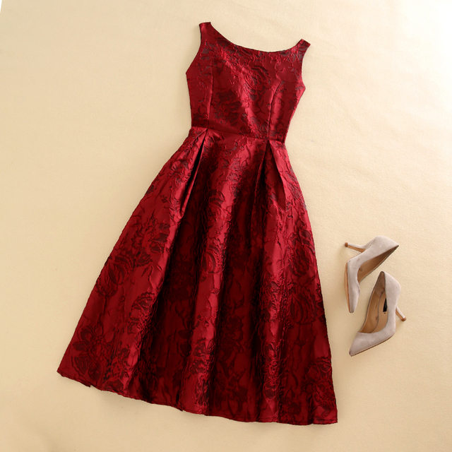 Women Elegant Vintage Jacquard Red Flower Print Vest Sleeveless Autumn Winter Celebrity Inspired Dresses Vestidos de Fiesta