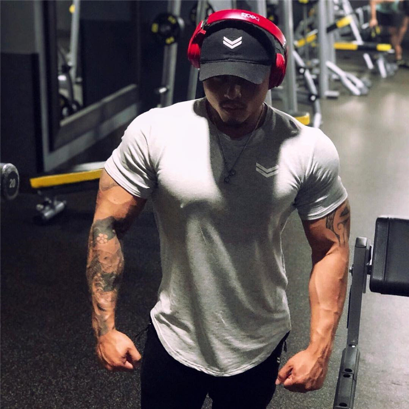 Men gyms Fitness t shirt Bodybuilding Shirts Fashion Casual Male Short sleeve cotton Tees Tops clothing 29