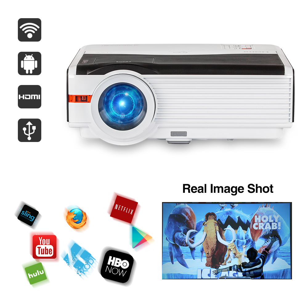 CAIWEI LCD HD 1080P LED Home Projector Watching Movie Video Game Large Projection Family TV Theater Beamer with HDMI VGA USB cheerlux cl740 wt mstar lcd home theater projector w led analog tv vga ypbpr hdmi white