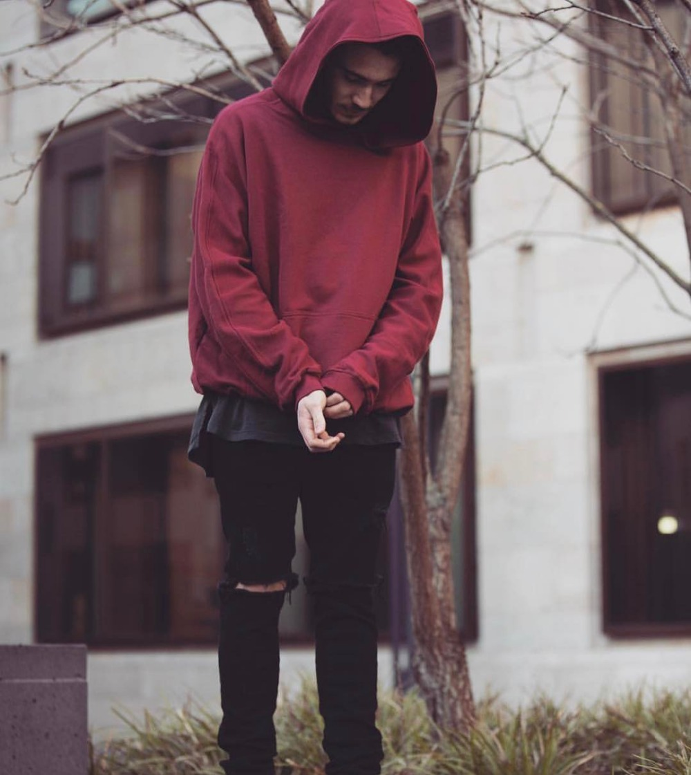 2018 fall winter hip hop streetwear unisex men solid baggy pullover hoodie black red grey in. Black Bedroom Furniture Sets. Home Design Ideas