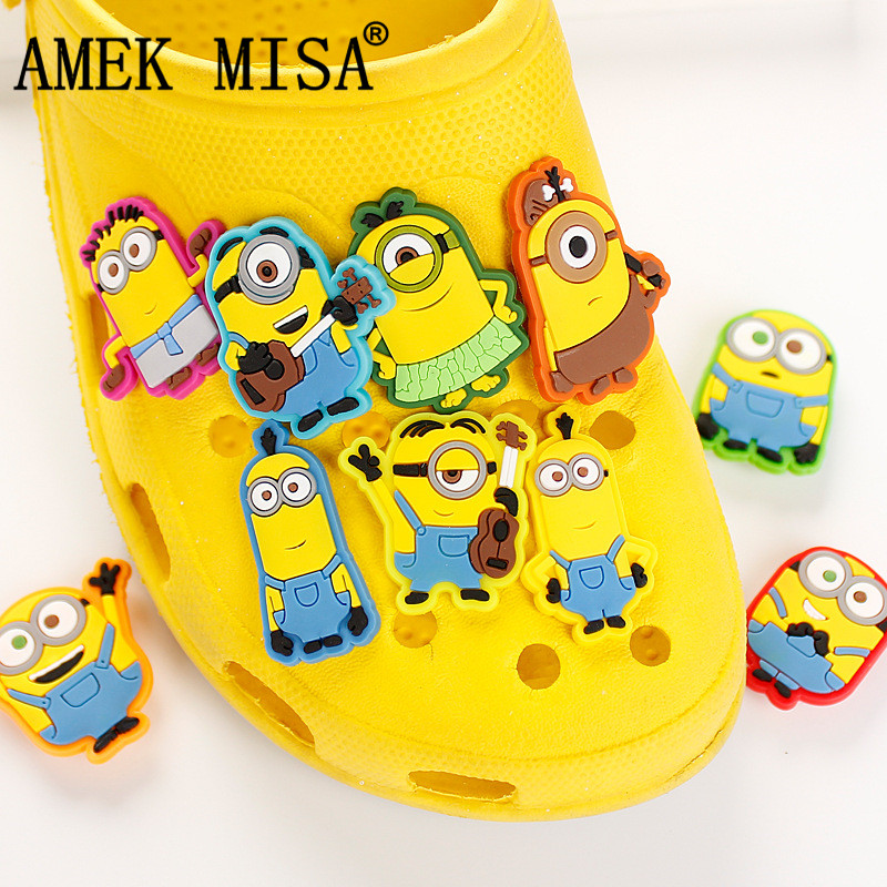 Novelty Cute 10Pcs A Set PVC Cartoon Minion Garden Shoes Buckles Accessories Charm Decorations Fit Bands/Bracelets/Croc/JIBZ D06