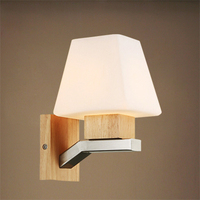 Art Deco Wall Lamp Nordic Wood Bedroom Bedside Lighting Modern Minimalist Square Aisle Wall Creative Living
