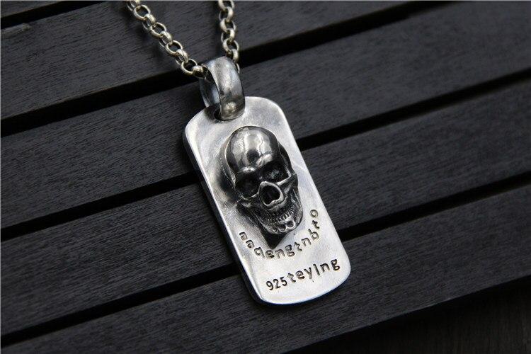 C & R Real 925 collier en argent Sterling rétro personnalité relief crâne tag style punk hommes Thai argent bijoux fins - 5