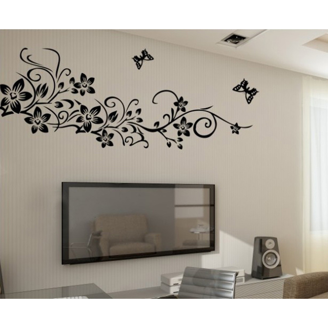 Low price flower rattan vine butterfly simple style removable wall sticker diy wallpaper mural decal adesivo