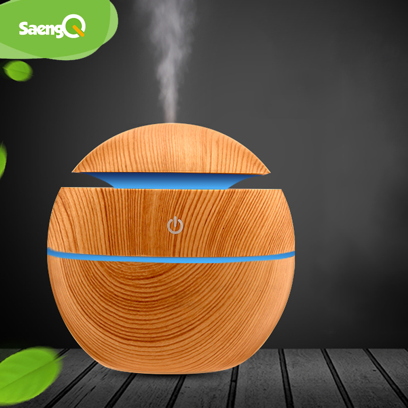 SaengQ Air Humidifier Usb Aroma Diffuser Mini Wood Grain Ultrasonic Atomizer Aromatherapy Essential Oil DiffuserFor Home Office