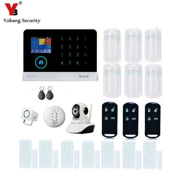 YobangSecurity Home WiFi GSM GPRS RFID Burglar Alarm House Surveillance Security System Wireless IP Camera Smoke Fire Sensor smartyiba wireless wifi gsm gprs rfid home security alarm system home automation system ip camera smoke fire sensor detector