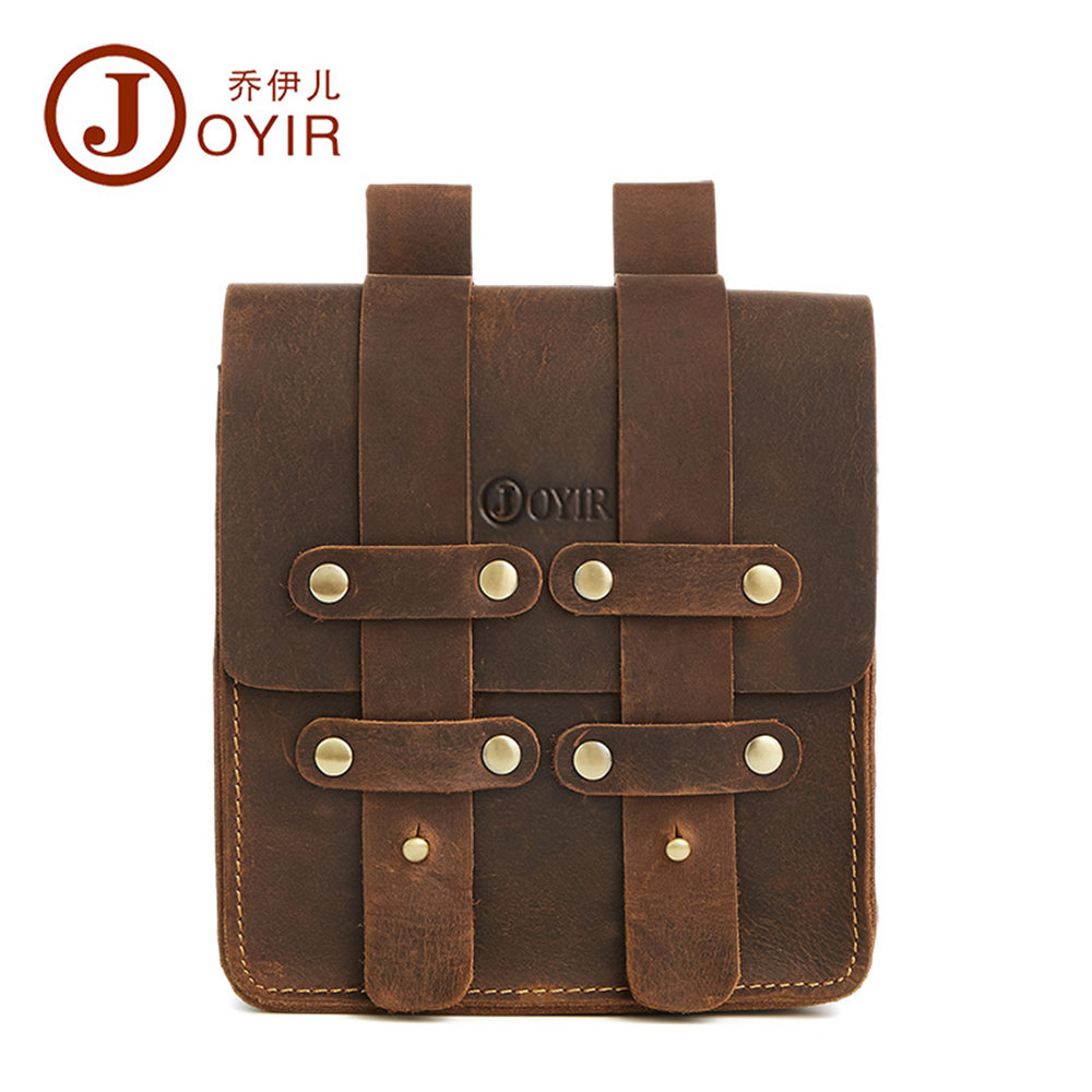 JOYIR Waterproof Mens Waist Pack Genuine Leather Fanny Pack Belt Bag Phone Pouch Bags Travel Waist Pack Male Small Waist Bag