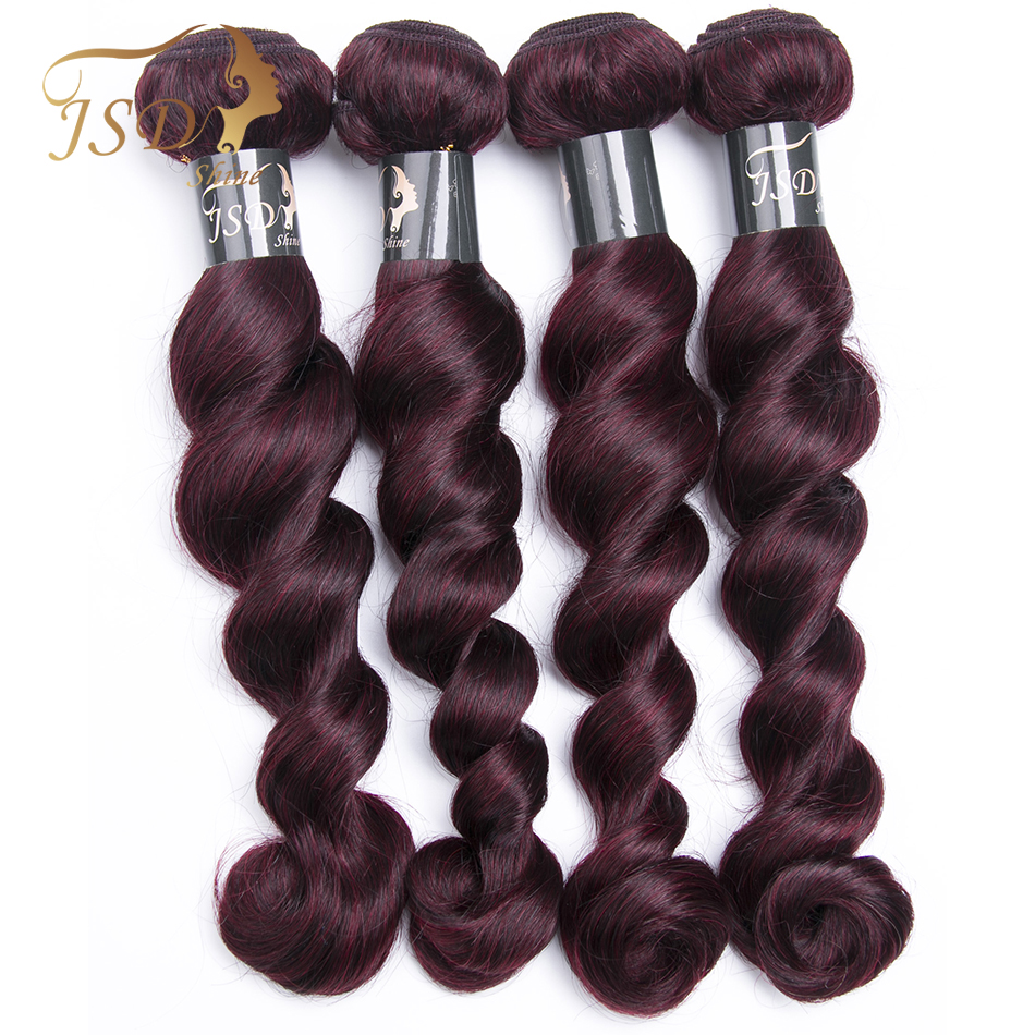 JSDShine Brazilian Human Hair Loose Wave Weave 4 Bundles 99J Red Color Non Remy Hair Weaving Machine Double Weft Hair  No Tangle