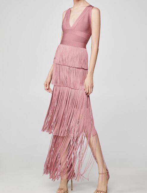 Top qualité Bandage robe femmes élégantes mode boîte de nuit célébrité fête robe rose gland été printemps Sexy