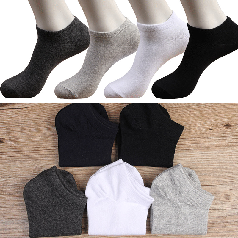 New 4 Color Solid Cotton Men Invisible Low Cut Cotton Non-Slip Loafer No Show Socks