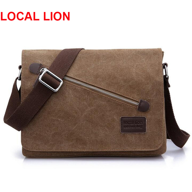 Local Lion Canvas Man Messenger Bag Business Crossbody Casual Fashion Handbags Male Bolsa Tote Briefcase