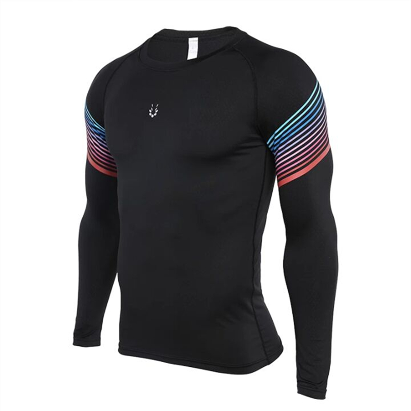 top quality Men Fitness Men Long Sleeve Running Sports T Shirt Men Thermal Muscle Bodybuilding Gym Compression Tights